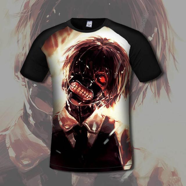Anime T-shirt Men Summer Tops Short Sleeve Tokyo Ghoul 3d Print T-shirt High Quality Printed Hipster Tops Tees
