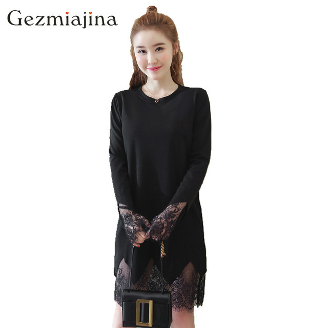 68a3707cd5e66 Spring autumn pregnancy wear maternity clothes Long sleeve pregnant women  dress splicing Loose large size Lace dress Round neck