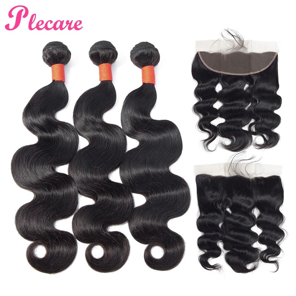 Plecare Bundles With Frontal Brazilian Hair Weave Bundles With Frontal Body Wave 100 Human Hair 3