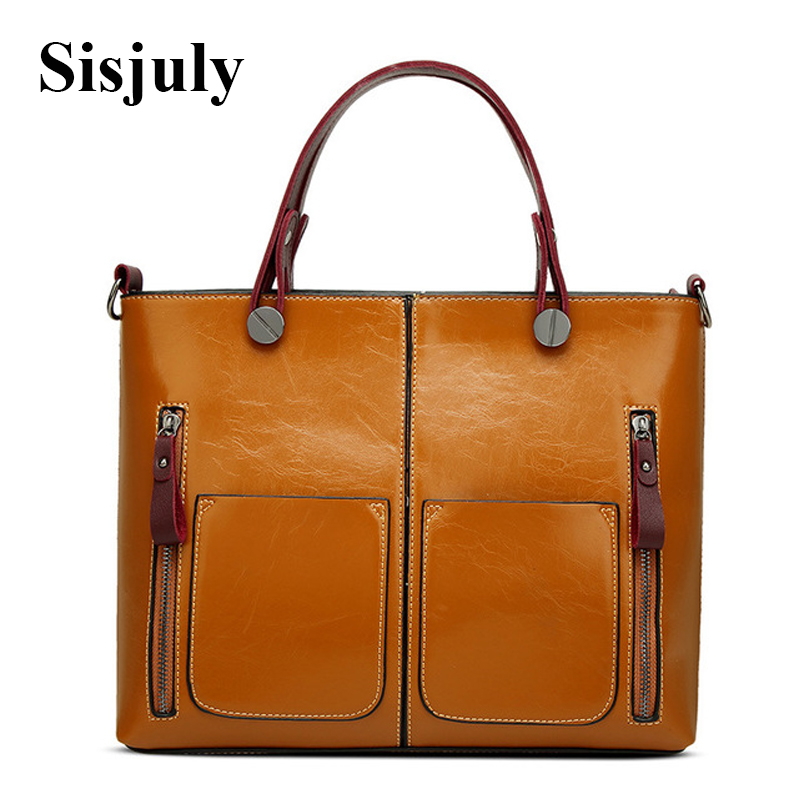 Sisjuly 2017 New Leather Bag Women Handbags Casual Tote Luxury Brand Designer Oil wax Lady Shoulder Bags Female Sac a Main зооник сумка переноска для животных 32 36 47см