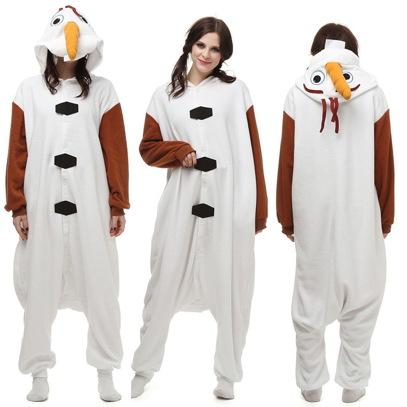 Christmas Halloween Birthday Gift Olaf Fleece Onesie Homewear Hoodie Pajamas Sleepwear Robe For Adults