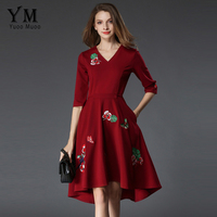 YuooMuoo New High Quality Floral Embroidery Vintage Dress Women Fashion V Neck Asymmetrical Retro Dress Female