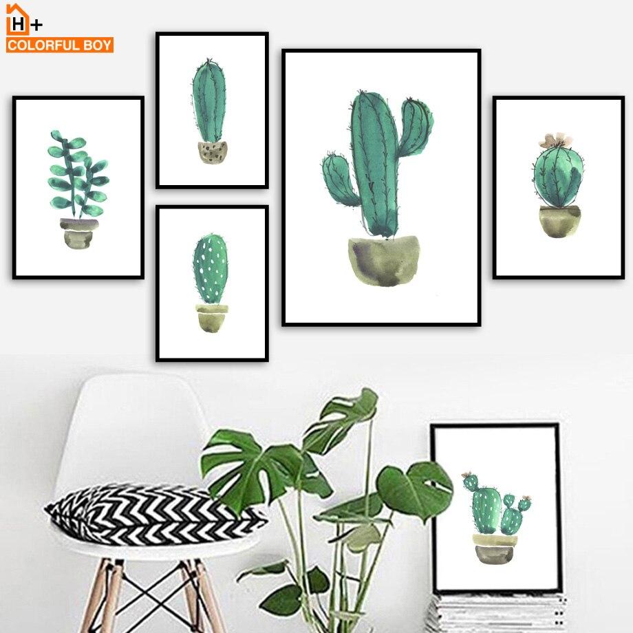 Rəngli Kaktus Divar İncəsənəti Çap Kətan Boyalı akvarel - Ev dekoru - Fotoqrafiya 1