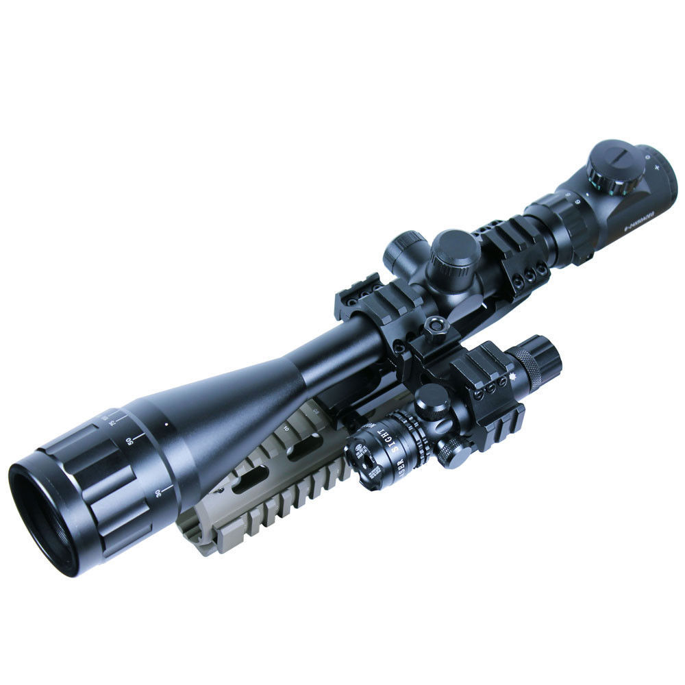 6-24x50 Hunting Mil-dot illuminated Snipe  Rifle Scope + Red Laser Sight / Airsoft Tactical Optics Riflescope & Laser Flashlight 3 5 10x40e red green dot laser sight scope hunting optics riflescopes tactical airsoft air guns scope chasse sniper rifle scope