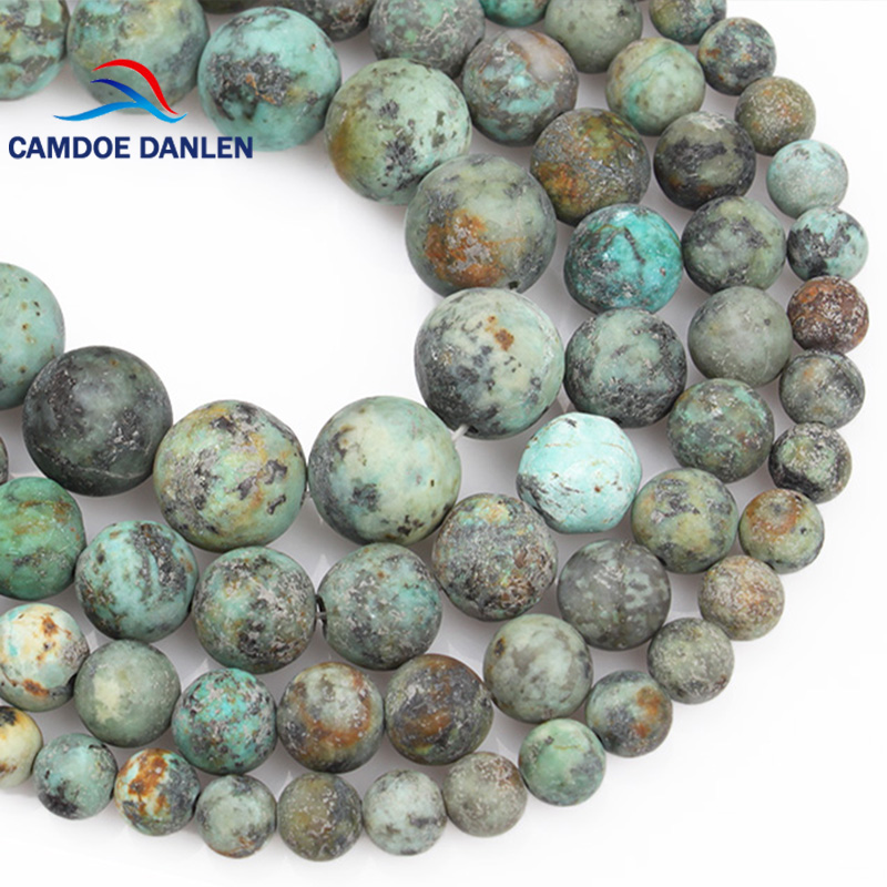 CAMDOE DANLEN Natural Stone Beads Forsted Matte Dull Polish African Turquoises 681012mm Fit DIY Charms Fashion Jewelry Making