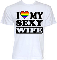 FUNNY COOL NOVELTY GAY PRIDE LGBT FLAG SLOGAN JOKE WEDDING WIFE T SHIRTS GIFTS Short Sleeve