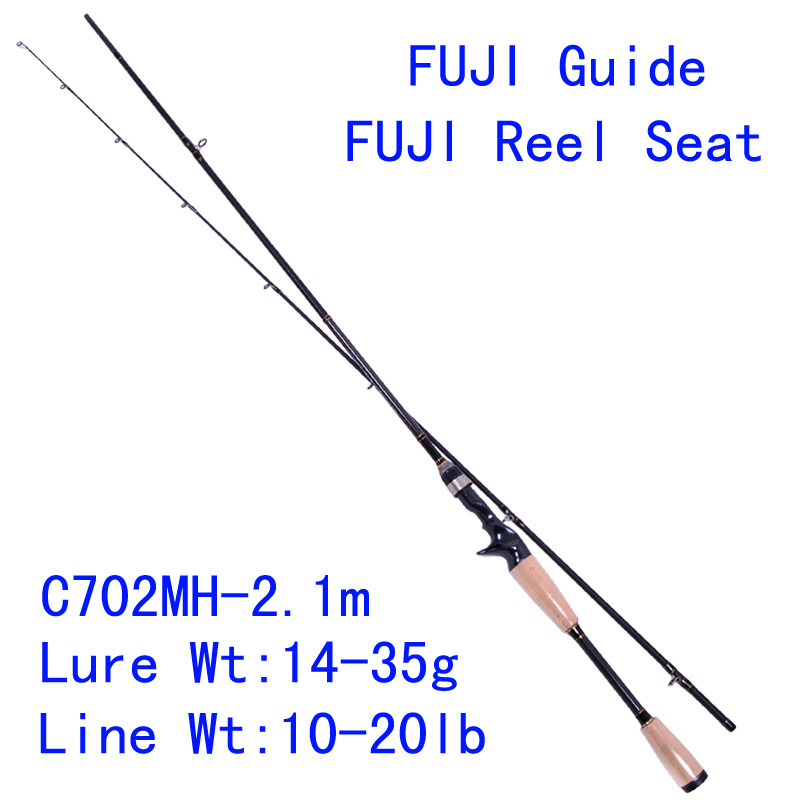 Tsurinoya PRO FLEX C702MH 2.1m MH Power Carbon Bait Casting Fishing Rod Fuji Guide Reel Seat Lure Rod Pesca Tackles Cork Handle trulinoya pro flex c652ml 1 95m ml action fuji guide reel seat bait casting rod high carbon 3a cork hanle cast fishing rod pesca