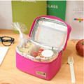 Casual Bento Pouch Fuchsia Thermal Insulated Cooler Lunch Bag Container Dining Travel Picnic Bag Waterproof