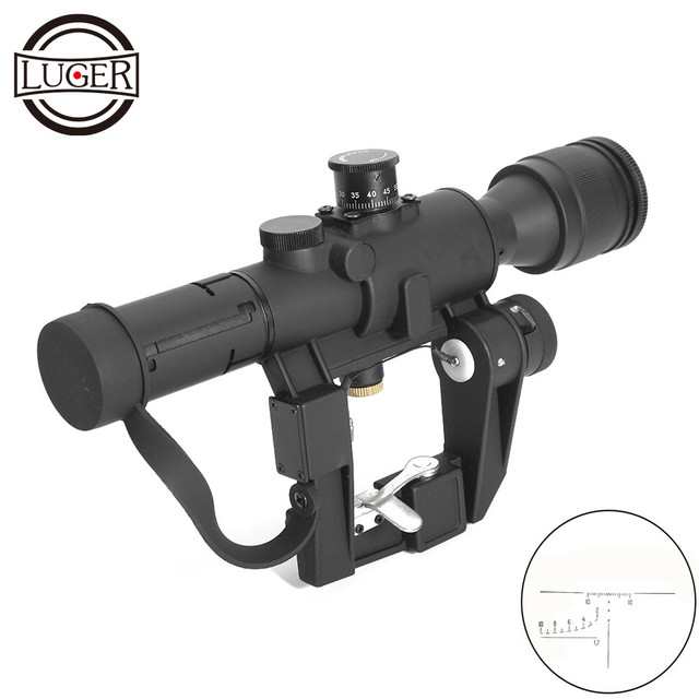 LUGER Tactical 4x26 Red Illuminated Riflescope Optics Sight SVD Dragunov Rifle Series AK For Hunting Shooting Airsoft Air Guns