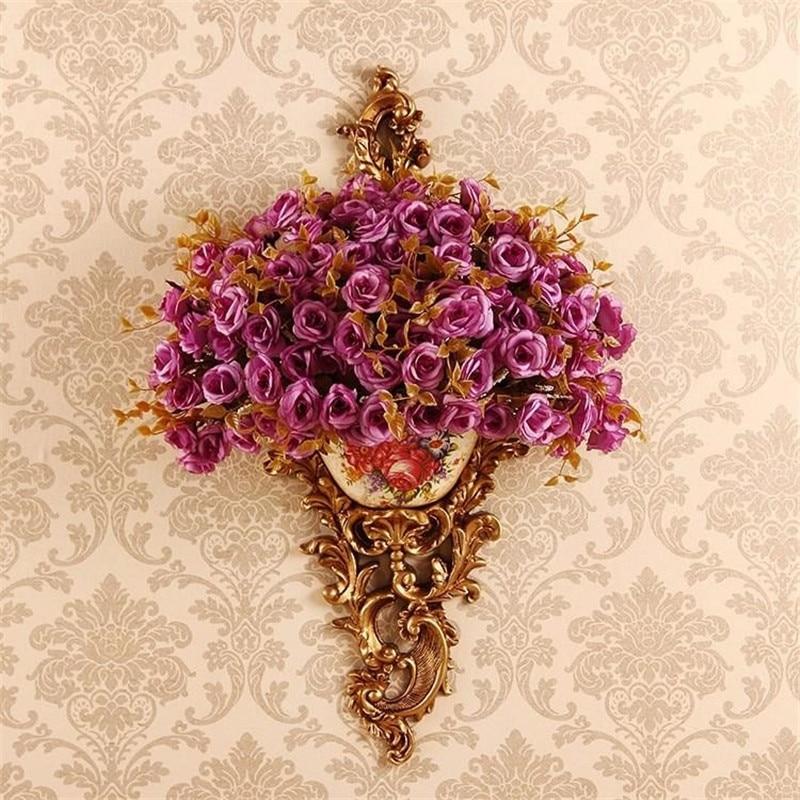 Европейский стиль ретро настенный висячий полимерный цветочный горшок гостиная телевизор задний фон на стену настенная корзина для цветов...