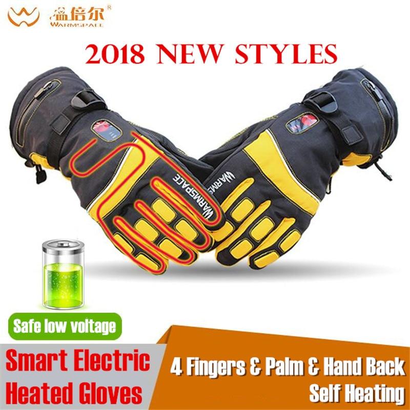 Warmspace 4000MAH Smart Electric Heating Gloves Ski Waterproof Lithium Battery Self Heated Finger Palm Hand Back