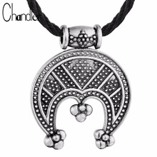 Chandler Tricorn Lunula Pendant Necklace Female Protective Amulet Crescent Moon Viking Charm Adjustable Rope Chain Love Colier
