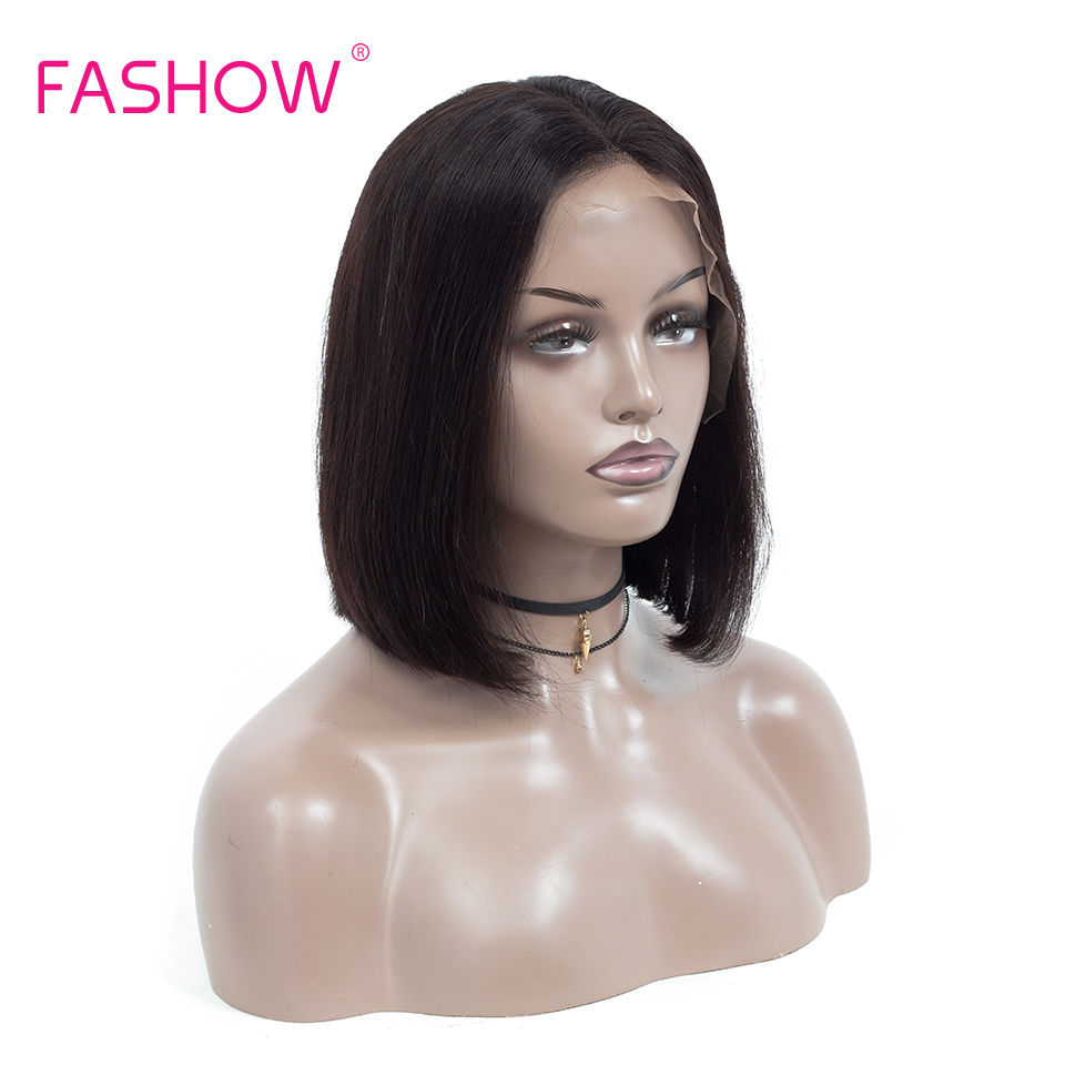 Fashow 13*4 Lace Frontal Wig Short Bob Wigs 150% Density Brazilian Human Hair Lace Wig With Baby Hair 8 10 12 14 16 18 20 Inches