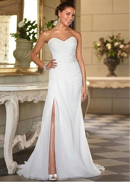 fd24bf23cb0 Sexy Sweetheart Chiffon Wedding Dresses Appliqued Beading Stock Split  Floor-Length Summer Beach Bridal Gowns Z201765