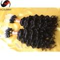 Дешевые бразильские человеческие волосы микро бусины наращивание волос рыхлый глубокий вьющиеся естественный цвет 0.5 г / strand, 100 strands / микро волос петля
