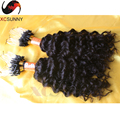 Barato brasileña del pelo humano micro bead extensiones de cabello suelto y rizado profundo color natural 0.5 g / strand, 100 strands / pack micro del lazo del pelo