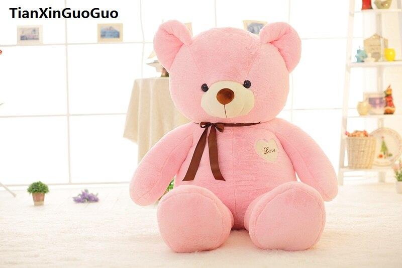 stuffed toy large 80cm love heart pink teddy bear plush toy silk belt bear soft doll pillow birthday gift s0374