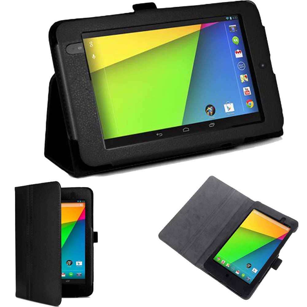 Protect Pu Leather Smart Flip Folio Cover Case For Google Nexus 7 2nd 2013 Model With Auto Sleep ( Not For 1st Generation 2012)