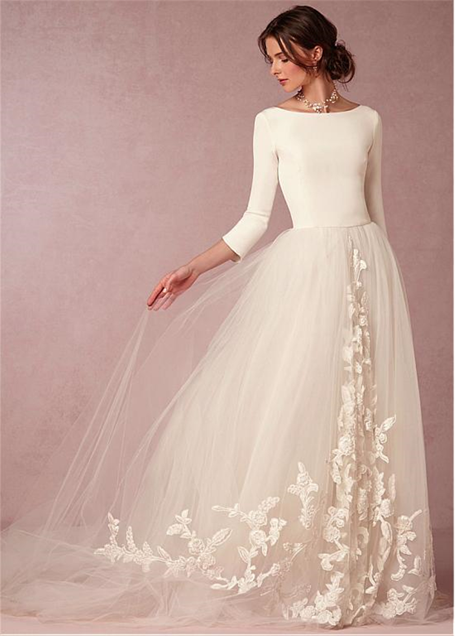 Elegant Spandex and Tulle Bateau Neckline A-line Wedding Dresses with Lace Appliques Three Quarter Sleeves Bridal Dresse