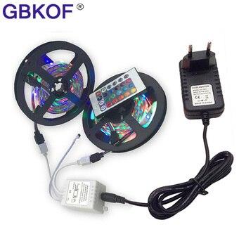 3528 15 m 5 m 10 m 20 m bandes de LED étanche 60 LED s/m 5 m/roll RGB lumiere LED éclairage + 24 touches RGB télécommande + adaptateur DC 12 V