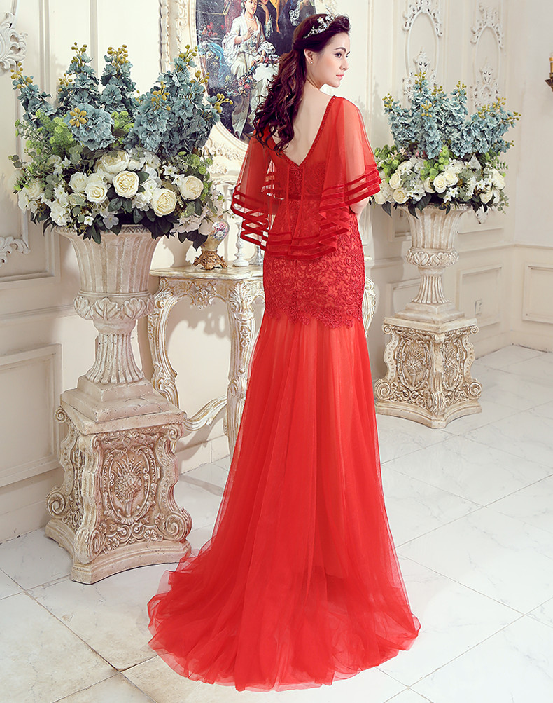 eae318305f MDBRIDAL Women Lace Evening Dress with Cape Long Red Tulle Gown Formal  Dresses Custom Size-in Evening Dresses from Weddings   Events on  Aliexpress.com ...