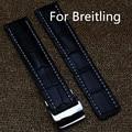 Alta calidad 22 mm 24 mm negro genuino hombres correa de cuero de la correa de muñeca correa para breitlin g reloj, Shiping libre