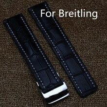 Высокое качество 22 мм 24 мм черный кожаный ремешок мужские наручные ремень ремешок для часов для breitlin г, Бесплатная доставка