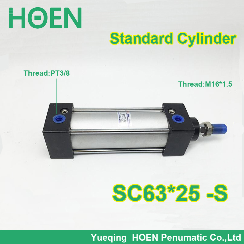 SC63*25 SC63*25-S 63mm bore SC63x25 standard single rod double action pneumatic cylinder SC SU series sc63 400 s 63mm bore 400mm stroke sc63x400 s sc series single rod standard pneumatic air cylinder sc63 400 s