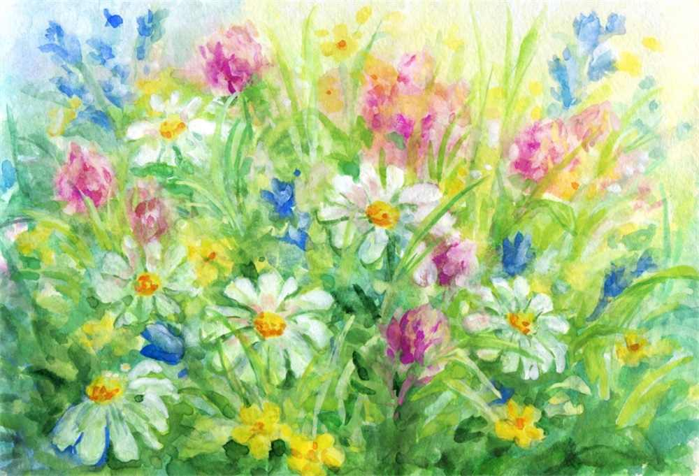 Laeacco Oilpainting Blossom Flower Painting Spring Wallpaper Child Photographic Background Photography Backdrop For Photo Studio