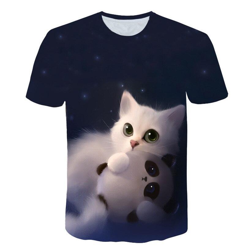 לילה חתול גברת חולצה נשים של קצר שרוולים למעלה 3d harajuku Tees למעלה בתוספת גודל בעלי החיים חולצה t חולצה נשים זרוק ספינה M-5X
