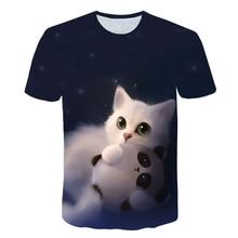 לילה חתול גברת חולצה נשים של קצר שרוולים למעלה 3d harajuku Tees למעלה בתוספת גודל בעלי החיים חולצה t חולצה נשים זרוק ספינה M 5X