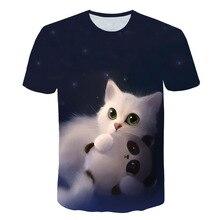 Noite gato senhora camiseta das mulheres de mangas curtas topo 3d harajuku t superior mais tamanho animal camiseta das mulheres do navio da gota M 5X