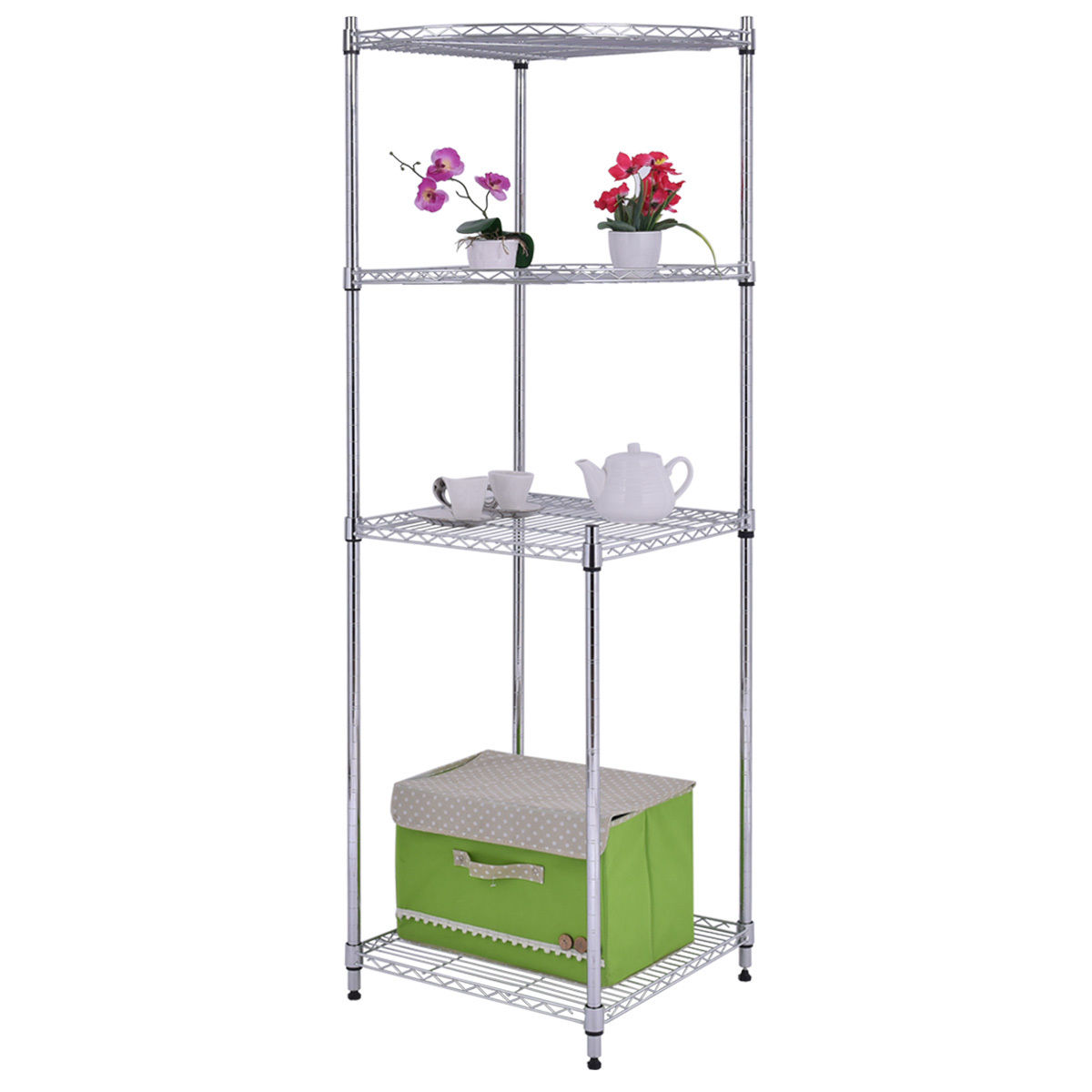 Goplus 4 Tier Coner Shelf Storage Rack Home Office