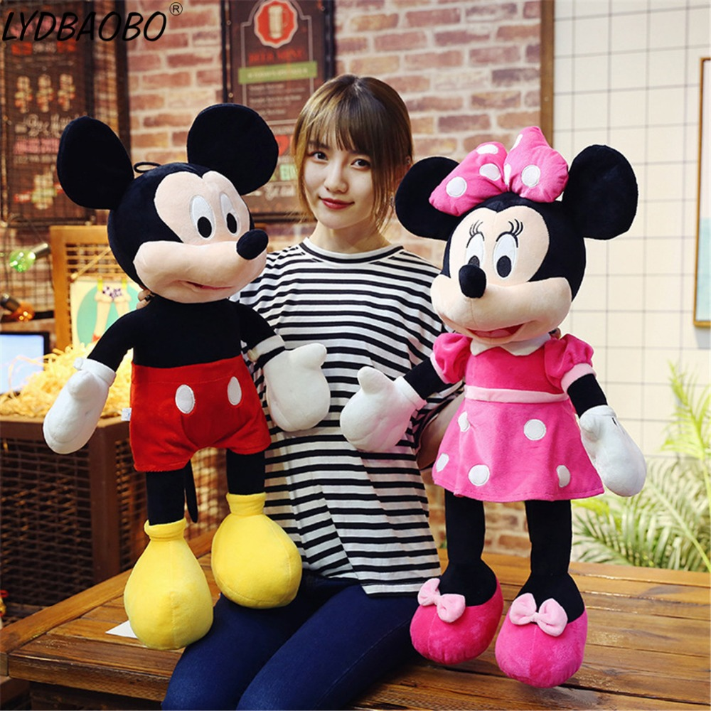 40-100cm Super Kawaii Mickey Mouse Minnie Mouse Stuffed Plush Kid Baby Toy Soft Children Baby Lover Valentine Day Gift Home Deco