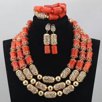 Luxurious African Orange Coral Beads Jewelry Sets Nigerian Wedding Jewelry Sets New Gold Accessories Bridal Jewelry