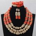 Lujoso Naranja de Coral Perlas Joyería Fija Boda Nigeriano Africana Sistemas de la Joyería de Nueva Accesorios de Oro Sistemas de La Joyería Nupcial CJ765