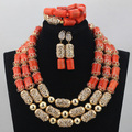 Luxuoso Conjuntos de Jóias de Casamento Nigeriano Africano Laranja Coral Contas Conjuntos de Jóias Novos Acessórios de Ouro Conjuntos De Jóias de Noiva CJ765