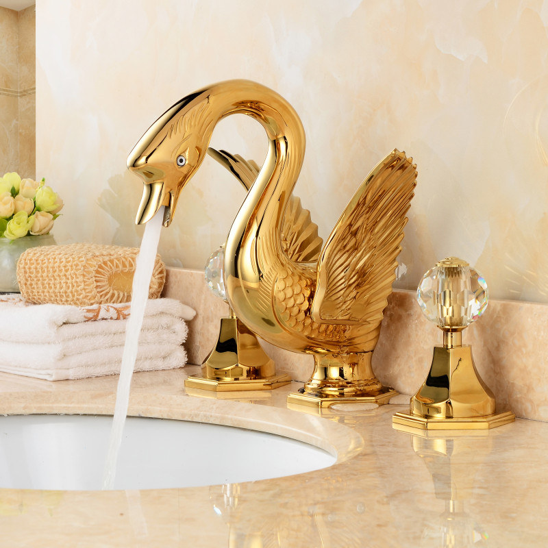 bathroom basin faucet total brass sink mixer tap hot and cold gold swan faucet bathroom crane crystal dual handle lavatory tap