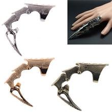 Anel punk unissex, anel de dedo duplo, armadura com dedo cheio, anel gótico, punk seda muito fantasma