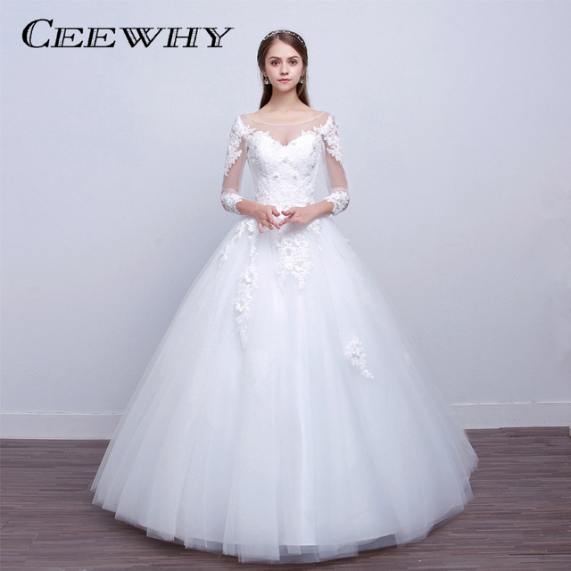 CEEWHY Vestido de Noiva Casamento Embroidery Bridal Dress Three ...