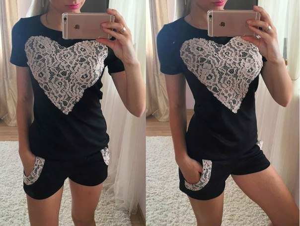 2016 New Hot Summer Spell Heart-shaped Chest Lace Short-sleeved T-shirt Leisure Suits Women Pencil Pants