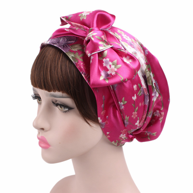 Satin bowknot headscarf floral printed sleeping bonnet ...