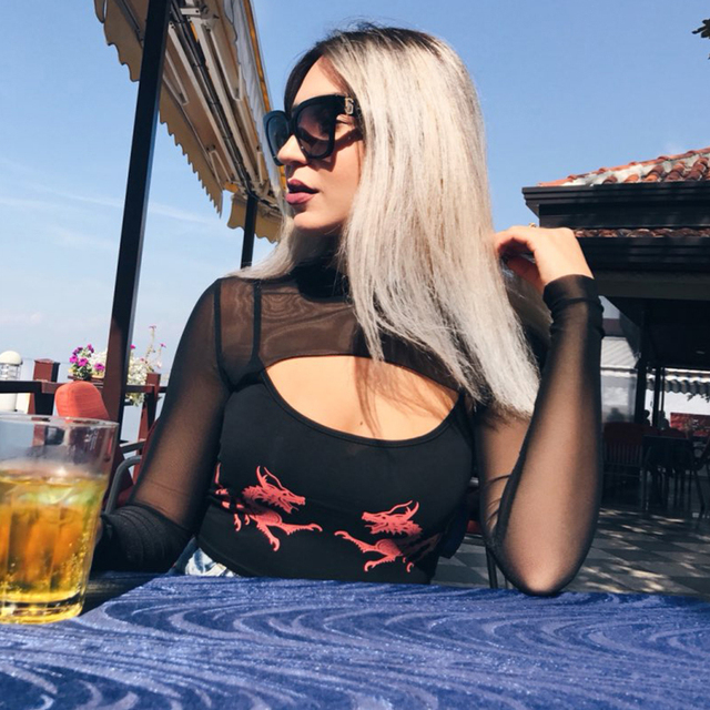 Weekeep Women Cropped Dragon Print Cami Summer Sexy Black Spaghetti Strap Backless Crop Top 2018 Streetwear