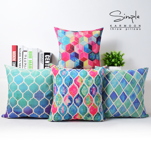 Fantasy Geometric Customized Cushion Cover Pink Blue Custom Pillow Beauteous Customized Pillow Covers