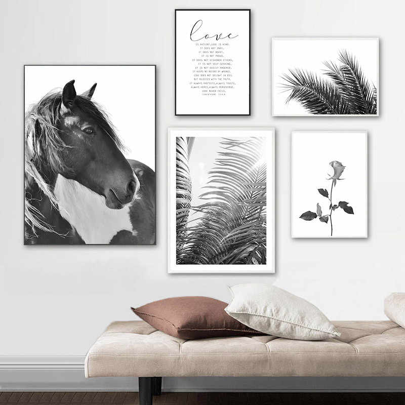 Black White Horse Wall Art Canvas Painting Poster Print Flower LOVE Quote Wall Picture for Living Room Modern Home Decor KL063