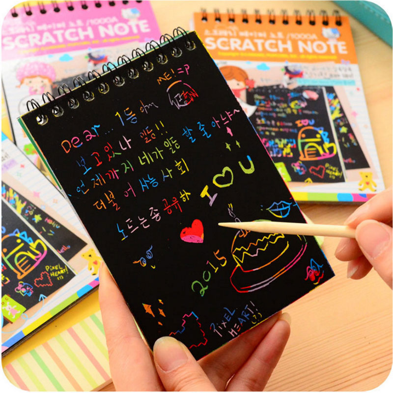 Wonderful Color Scratch Note Black Cardboard Creative DIY Draw Sketch Notes For Kids Toy Notebook Drawing Toys School Supplies
