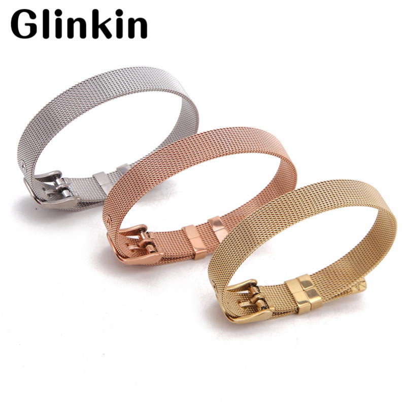 Glinin Keep Collective 316L Stainless Steel Belt Buckle Mesh Bangle Bracelets for Women DIY Keeper Charms Jewelry Top Quality