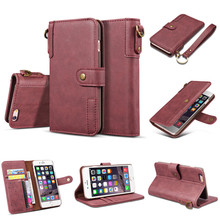 Bosilang  Retro Style magnetic flip  Wallet Leather Cell  card slots Foldable stand cash slot Phone Case for Iphone 6S 4.7inch