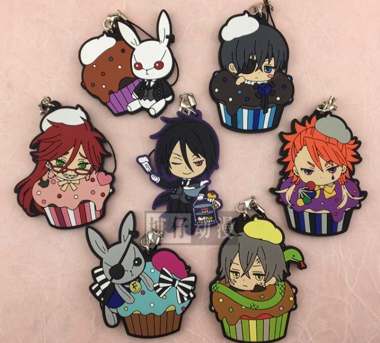 цена на Ciel Phantomhive Sebastian Joker Doll Dagger Grell Undertaker Bucket Version Anime Black Butler Japanese Rubber Keychain