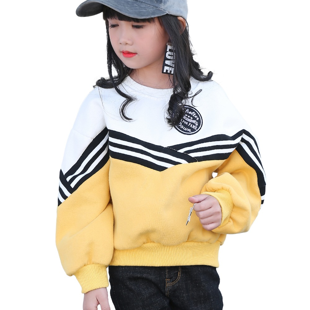 Girls Plus Velvet Thick Sweater Baby Warm Jacket Stripes Loose Korean Children's Leisure Clothing Children's Tops for Teenagers 2016 winter new soft bottom solid color baby shoes for little boys and girls plus velvet warm baby toddler shoes free shipping